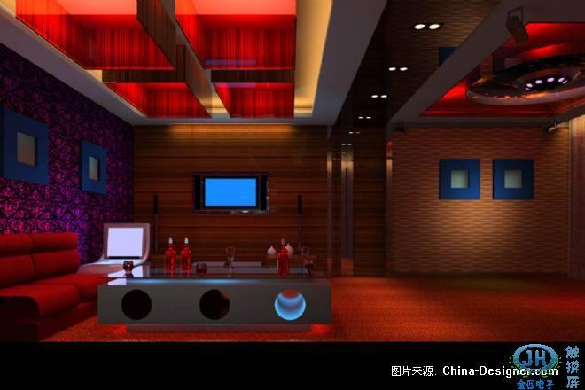 量贩式红色为主ktv包房装修设计效果图